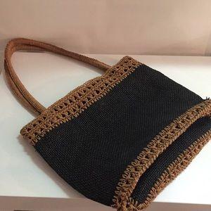 Straw handle purse
